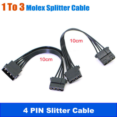 4 Pin IDE Molex Power to 3 Molex Splitter Y Power Extension Cable 4P