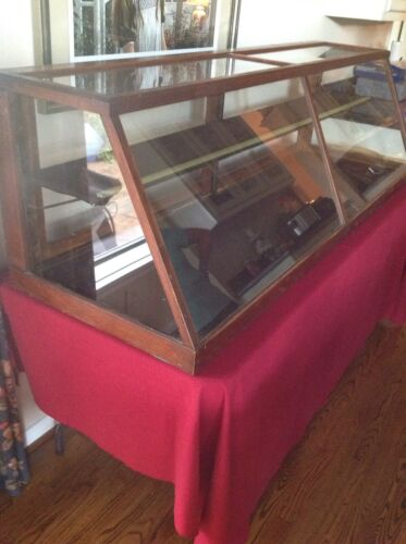 """ANTIQUE DISPLAY CASE FOR TABLE TOP 70""""W X 21""""T X 23""""D WITH SLANT FRONT"""