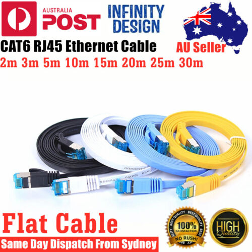 2/5/10/15/20/30m Cat6 RJ45 Flat Ethernet Cable Internet LANs Network Cord Router