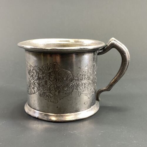 ANTIQUE EARLY 1900's SUPERIOR SILVER CO. USA ORNATELY ENGRAVED CHILDRENS CUP EP
