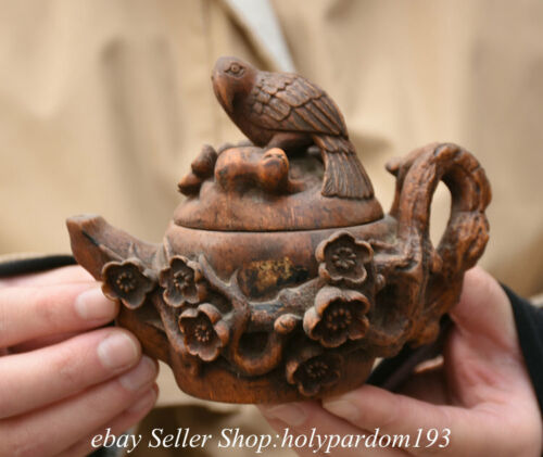 """4.8"""" Old Chinese Bamboo Root Hand Carving Flower Bilr Lid Water Vessel Kettle"""