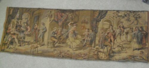 """Stunning Antique Victorian Era Tapestry with Men and Women at Gathering 18.5x57"""""""