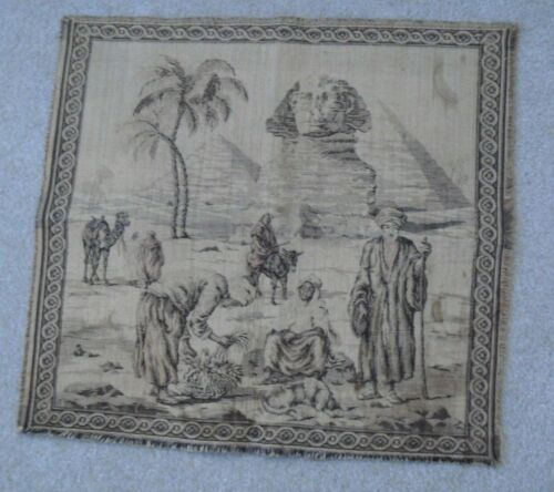 Stunning Antique Egyptian Tapestry with Pyramids Giza Sphinx Camels Men