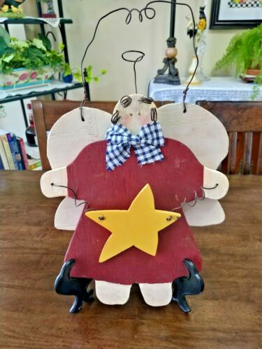 PRIMITIVE Handcrafted Wood ANGEL Girl w/Yellow Star x Hanging XMAS DECOR, PREOWN