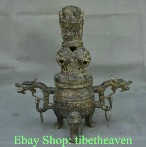 """13.2"""" Antique China Bronze Ware Dynasty Palace Dragon Ear Beast Incense Burners"""