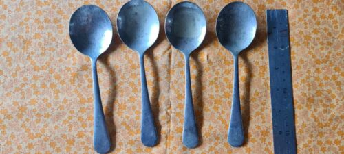 4 x old Astor EPNSA mixed soup spoons vintage  collectable mobiles