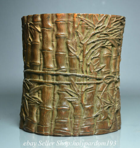 """6"""" Old Chinese Bamboo root Carving Vessel Brush pot Pencil vase"""