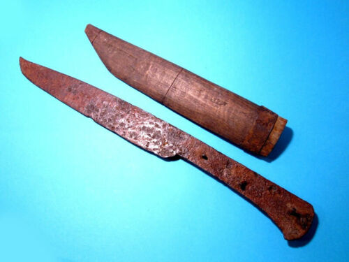 Extremely Rare HUGE Post Medieval IRON KNIFE w/ ORIGINAL WOODEN SCABBARD+++