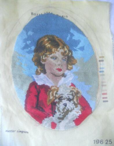 VINTAGE PETIT POINT TAPESTRY MASTER SIMPSON BOY WITH DOG