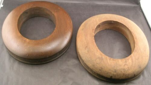 2 Antique Wooden Millinery Hat Block Forms Brim Ring Hatters Supply House