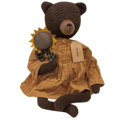 New Primitive Rustic Country BROWN TEDDY BEAR WITH SUNFLOWER Doll 18""