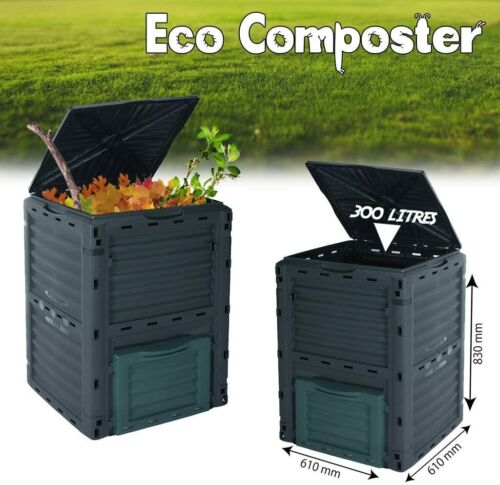 Eco Compost Bin Aerated Food Waste Kitchen Garden Recycling Composter Black
