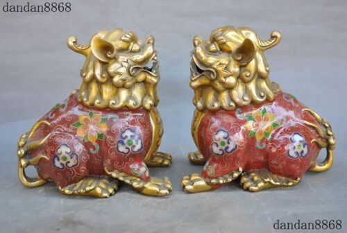 Old China Bronze Cloisonne Gilt Auspicious Beads Lion Foo dog Beast Statue Pair