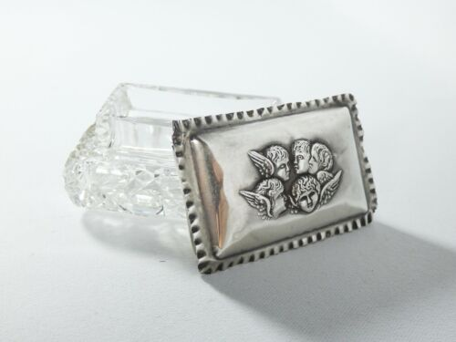 Antique Art Nouveau 1910 Sterling Silver Glass Crystal Ring Trinket Box Angels