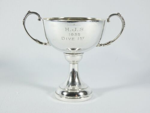 Antique Art Deco 1937 Sterling Silver Trophy Cup Swimming Diving Highgate School