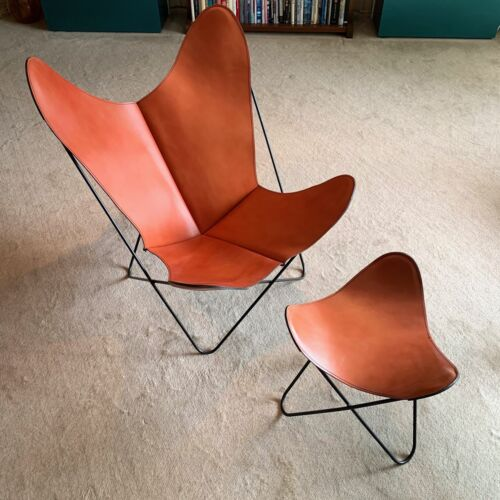 Hardoy Knoll Butterfly Chair and Ottoman w/ Leather Covers Mid-Century Modern
