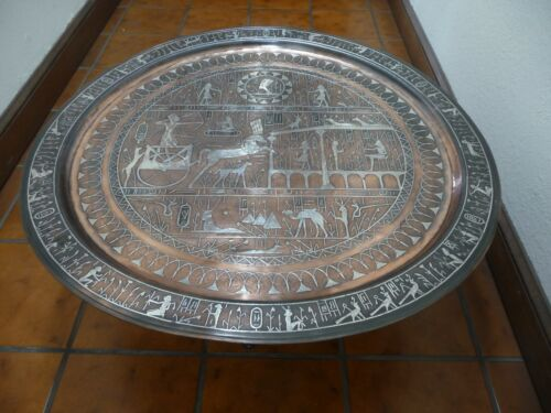ANTIQUE COPPER & SILVER TRAY TABLE, ART DECO, EGYPTIAN DESIGN, WOODEN STAND