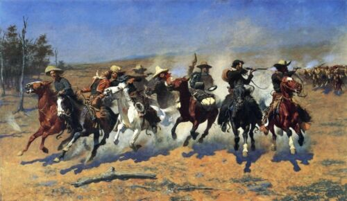 """Frederic Remington Handmade Oil Painting repro A Dash For Timber 30""""x50"""""""