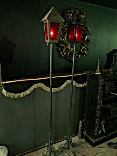 TALL GOTHIC PAIR ANTIQUE TORCHIERE FLOOR LAMPS Etched Glass Panels Flicker Bulbs