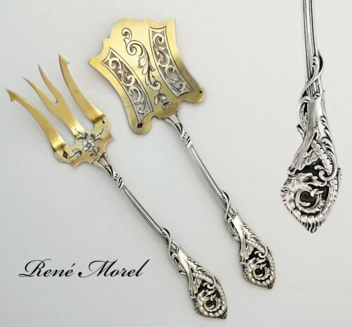 French 800 Silver & Vermeil Serving Duo: Serving Fork & Server - Chinoise Dragon