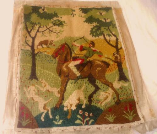 ANTIQUE TAPESTRY BOAR HUNT SCENE HUNTER ON HORSE WITH HOUNDS IN FOREST