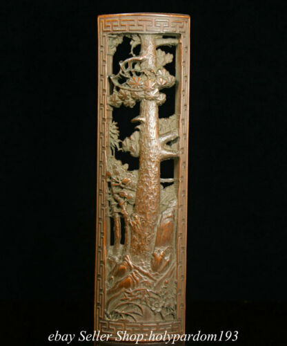 """11.6"""" Old Chinese Bamboo root Carved Tree Huaman Armband Statue Sculpture"""
