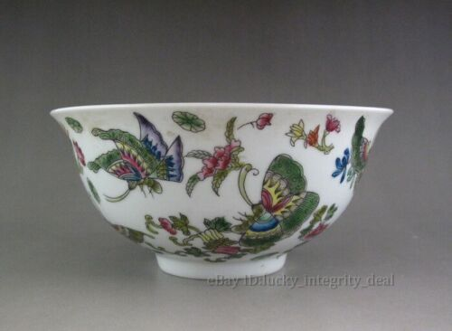 Nice Chinese Old Famille Rose Butterfly & flower Porcelain Bowl Mark