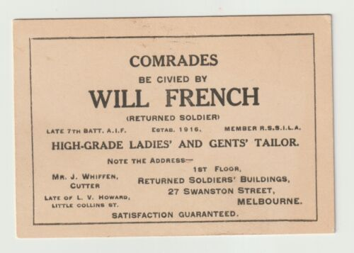 WW1 Business Card - Will French High-Grade Ladies & Mens Tailor- excellent condi1914 - 1918 (WWI) - 13962