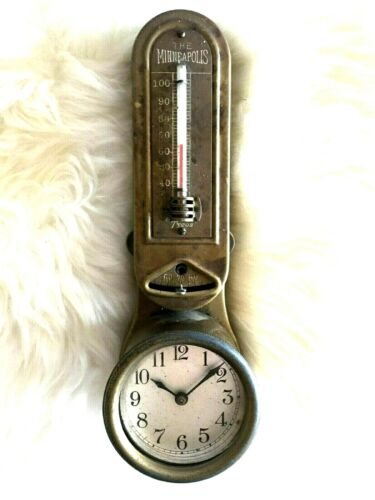 The Minneapolis Antique Hotel Heat Regulator / Thermometer with New Haven Clock!