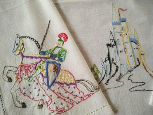 Magical Princess Castles & Knights on Horses Vintage Hand Embroidered Tablecloth