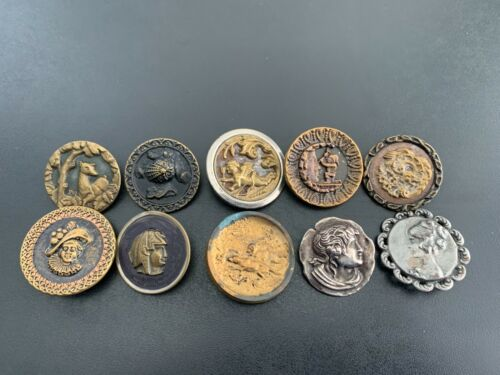 Lot of (10) Antique Vintage Metal Picture Buttons - BUTTON AUCTION #4
