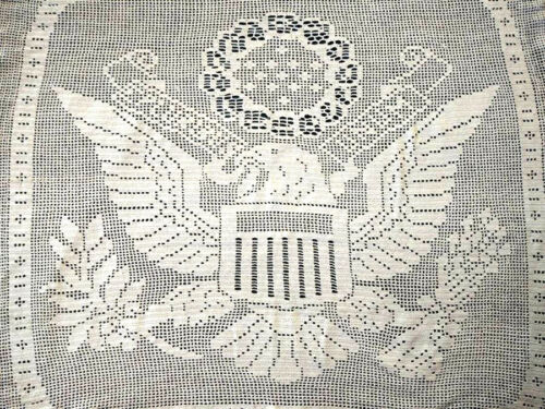 RARE Antique MARY CARD Design ~USA Patriotic 'GREAT SEAL' Lge Panel Hand Crochet