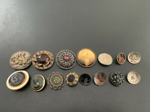 Lot of (15) Antique Vintage Metal Picture Buttons - BUTTON AUCTION #12