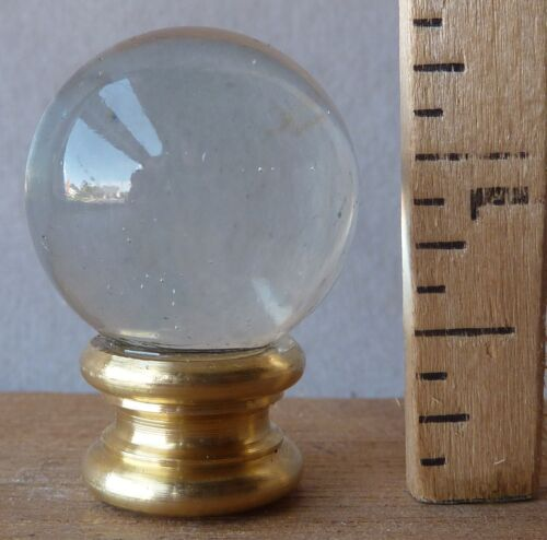 """Lamp finial 1""""d Water Clear Glass Ball 1 3/8""""h (RA)"""