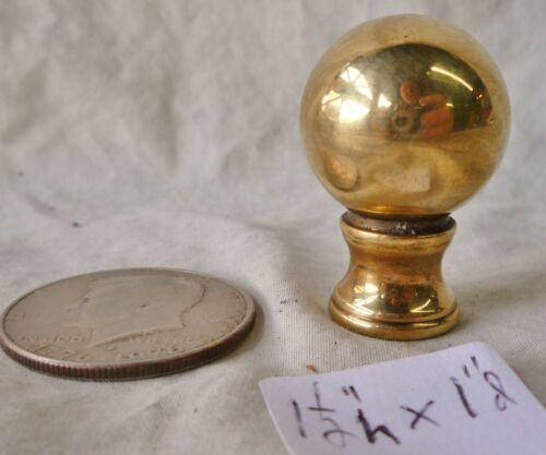 """Lamp Finial Solid Brass Elevated Ball Old Patina 1 1/2""""high x 1"""" d"""