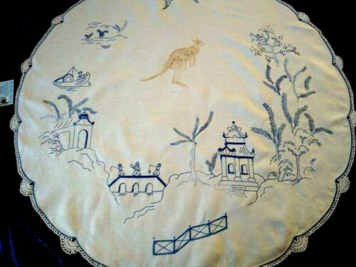Unique Vintage Blue Willow Hand Embroidered Round Tablecloth & Painted Kangaroo