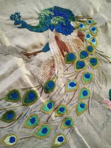 Amazing Peacock/Tail Feathers/Cherry Blossom Vint Hand Emb Panel needs finishing