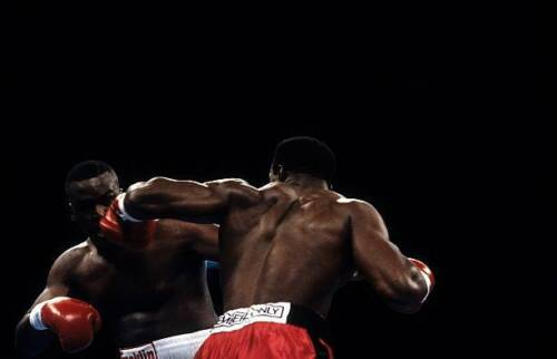 Evander Holyfield Throws A Punch Against James Douglas OLD BOXING PHOTO