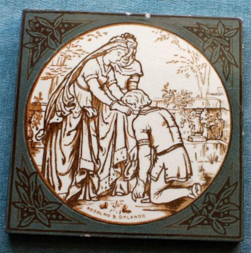"""Antique Minton Hollins Tile, """"Rosalind & Orlando"""" Shakespeare's """"As You Like It"""""""
