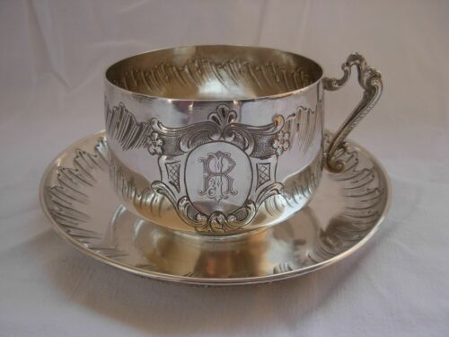 ANTIQUE FRENCH STERLING SILVER CHOCOLAT CUP & SAUCER,LOUIS 15 STYLE,19th CENTURY