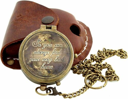 """Brass Camping Compass Engraved with """"So You Can Always Find Your Way Back Home"""