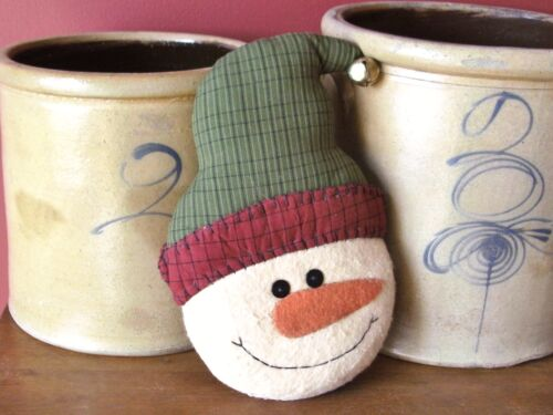 Snowman Pillow with Jingle Bell Hat Winter Primitive Country Decoration
