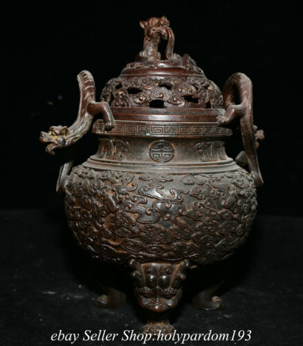 """9.6"""" Marked Old Chinese Bronze Dynasty Dragon Pattern Pi Xiu Beast Ear Censer"""