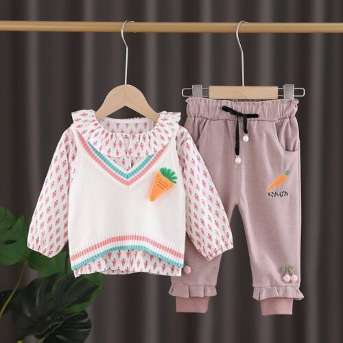Baby Girl Clothing Sets Knitted Vest Long Sleeve Top And Elastic Waist Pants New