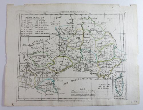 Antique Map of a portion of South Eastern France and Corsica— Late 1700s