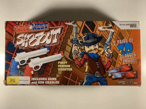 Wild West Shootout Guns, Game and 3D Glasses Wii GC PAL