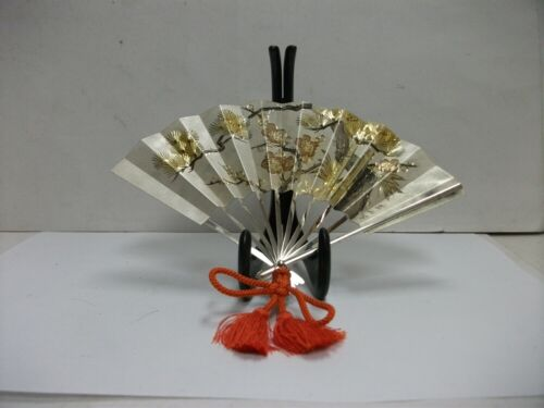 Fan of Pine, bamboo, and plum of Sterling Silver. OOGI SUEHIRO. Japanese antique