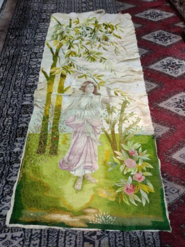antrique hand painted victorian tapestry ladie romantic scene lady with flowers
