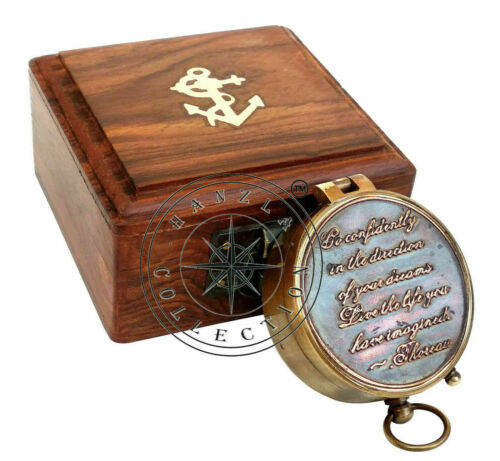 Antique Nautical Directional Brass Camping Compass Pocket Gift With Wooden Box