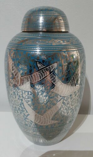CREMATION URN ADULT - GOING HOME BLUE and NICKEL URN